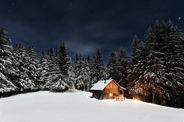 Stuga i skogen vinter
